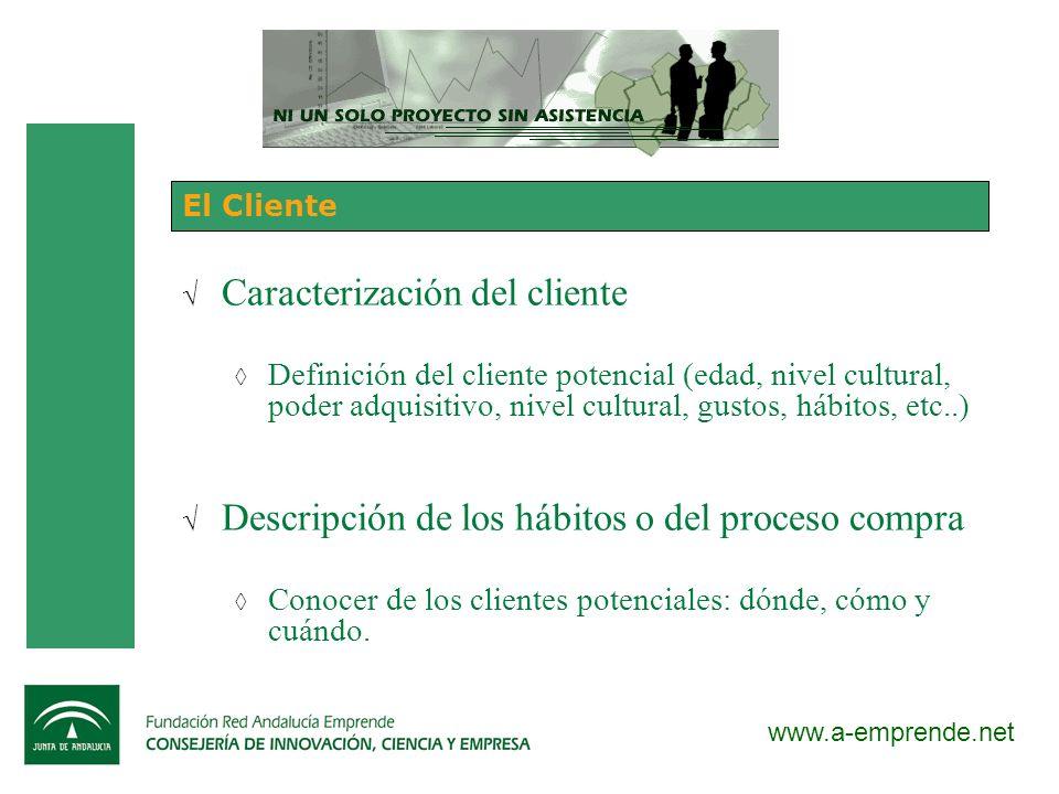 www.a-emprende.net El Cliente Caracterización del cliente Definición del cliente potencial (edad, nivel cultural, poder adquisitivo, nivel cultural, g