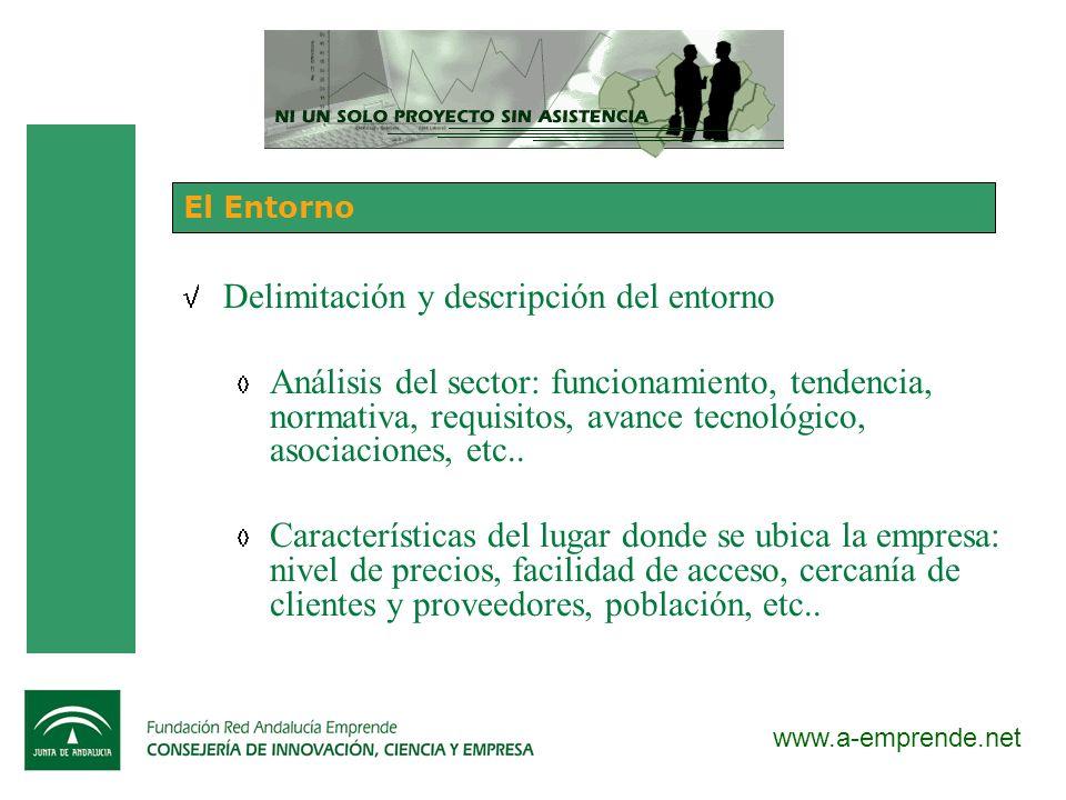 www.a-emprende.net El Entorno Delimitación y descripción del entorno Análisis del sector: funcionamiento, tendencia, normativa, requisitos, avance tec
