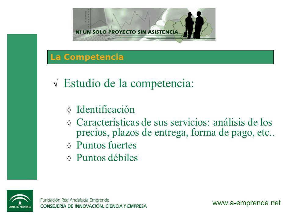 www.a-emprende.net La Competencia Estudio de la competencia: Identificación Características de sus servicios: análisis de los precios, plazos de entre