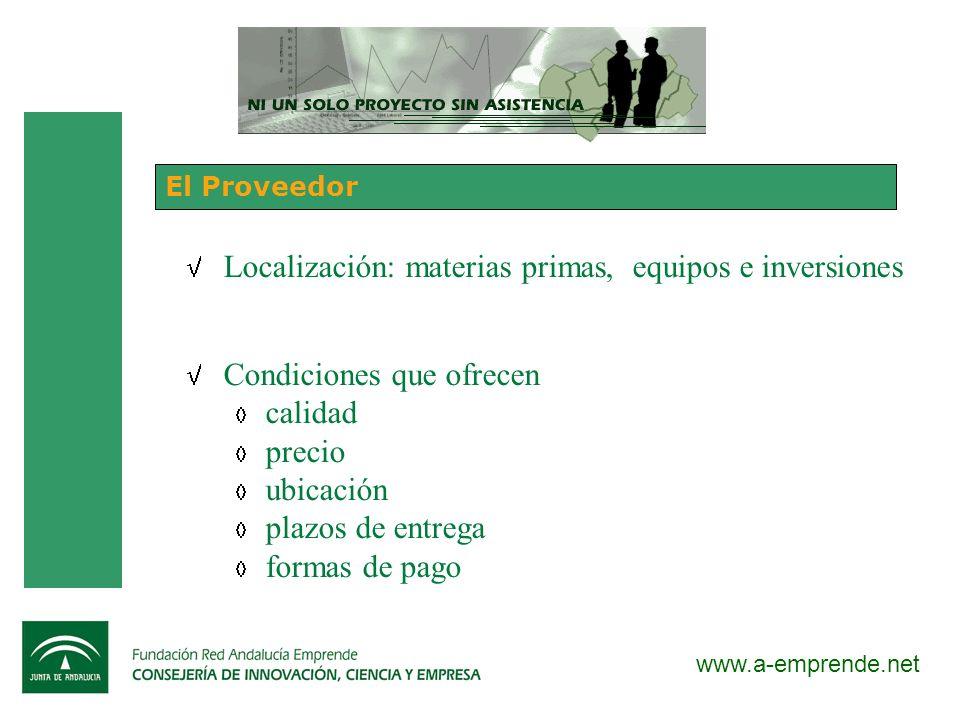 www.a-emprende.net El Proveedor Localización: materias primas, equipos e inversiones Condiciones que ofrecen calidad precio ubicación plazos de entreg
