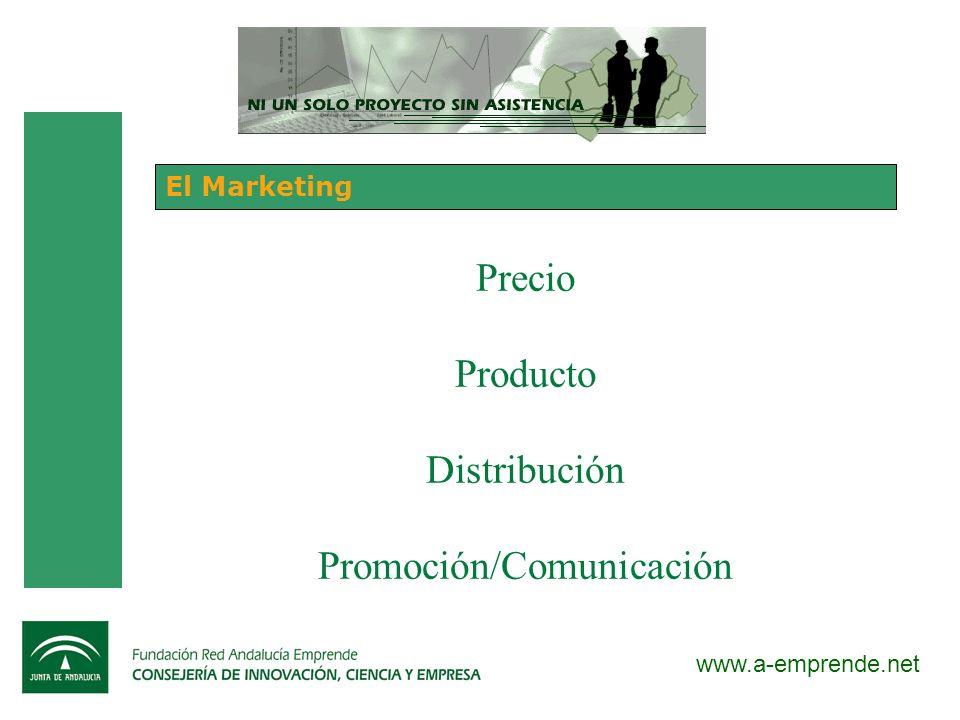www.a-emprende.net El Marketing Precio Producto Distribución Promoción/Comunicación