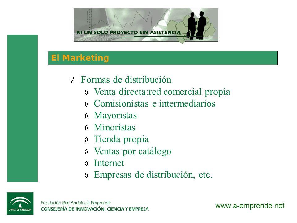 www.a-emprende.net El Marketing Formas de distribución Venta directa:red comercial propia Comisionistas e intermediarios Mayoristas Minoristas Tienda