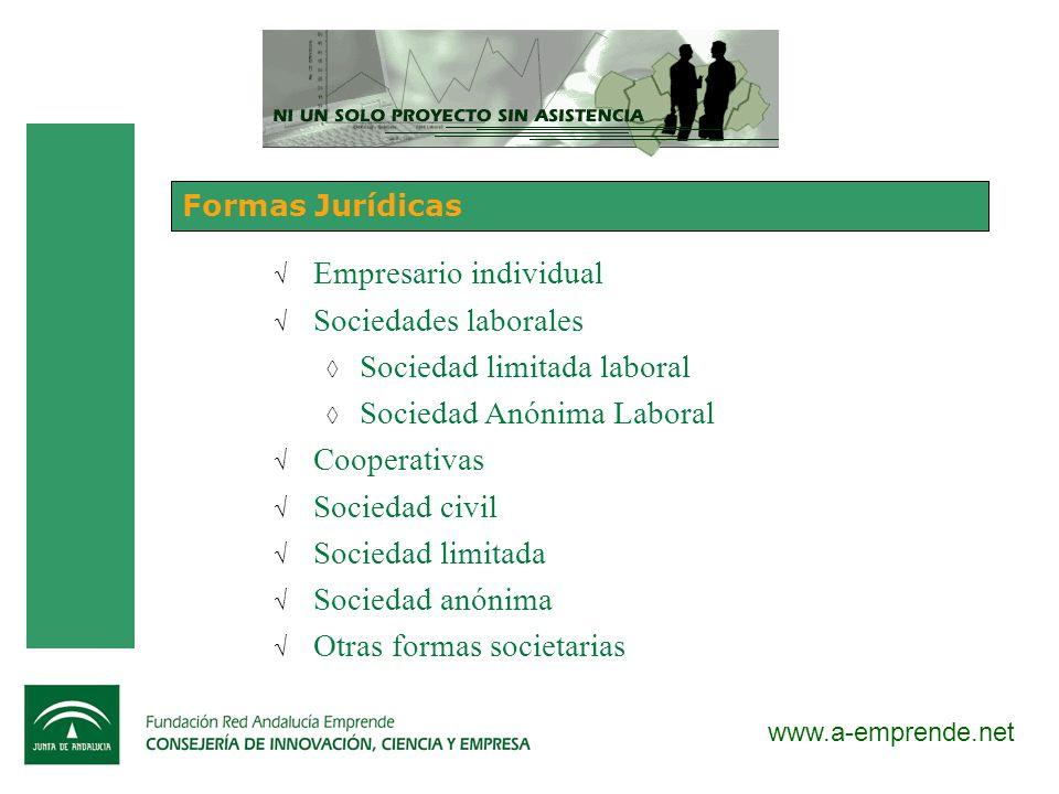 www.a-emprende.net Formas Jurídicas Empresario individual Sociedades laborales Sociedad limitada laboral Sociedad Anónima Laboral Cooperativas Socieda