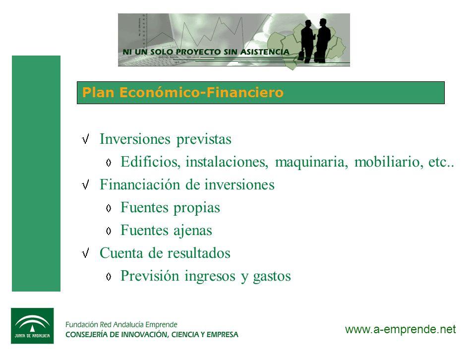 www.a-emprende.net Plan Económico-Financiero Inversiones previstas Edificios, instalaciones, maquinaria, mobiliario, etc.. Financiación de inversiones