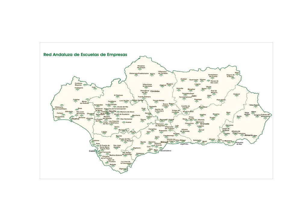 Nuestras señas de identidad Idea Tutoría Empresa consolidada 100% municipios andaluces Red Servicio Integral Actitud Proactiva Identificando iniciativas Fomentando el espíritu emprendedor Coordinación Consejería Junta de Andalucía Otras Instituciones