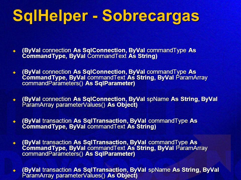 SqlHelper - Sobrecargas (ByVal connection As SqlConnection, ByVal commandType As CommandType, ByVal CommandText As String) (ByVal connection As SqlCon