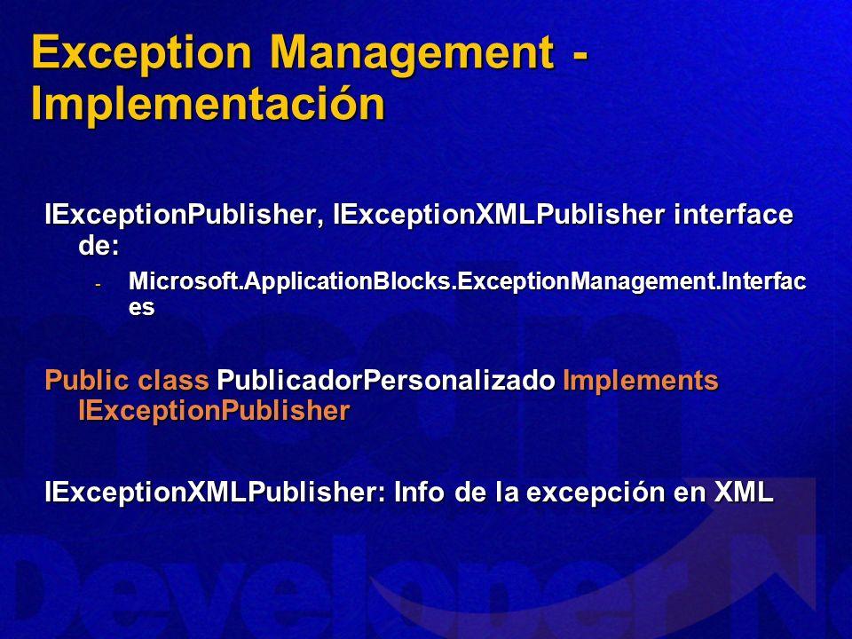 IExceptionPublisher, IExceptionXMLPublisher interface de: - Microsoft.ApplicationBlocks.ExceptionManagement.Interfac es Public class PublicadorPersona