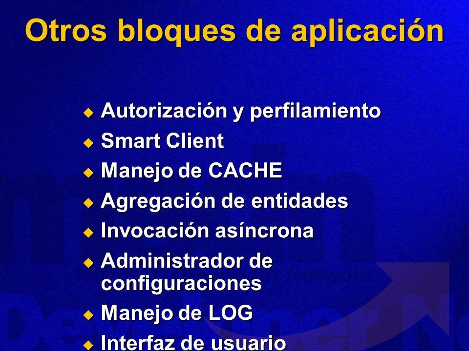 Otros bloques de aplicación Autorización y perfilamiento Autorización y perfilamiento Smart Client Smart Client Manejo de CACHE Manejo de CACHE Agrega
