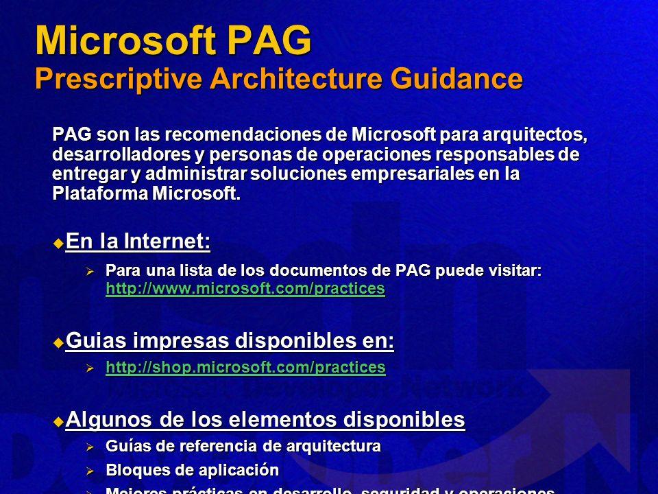Microsoft PAG Prescriptive Architecture Guidance PAG son las recomendaciones de Microsoft para arquitectos, desarrolladores y personas de operaciones