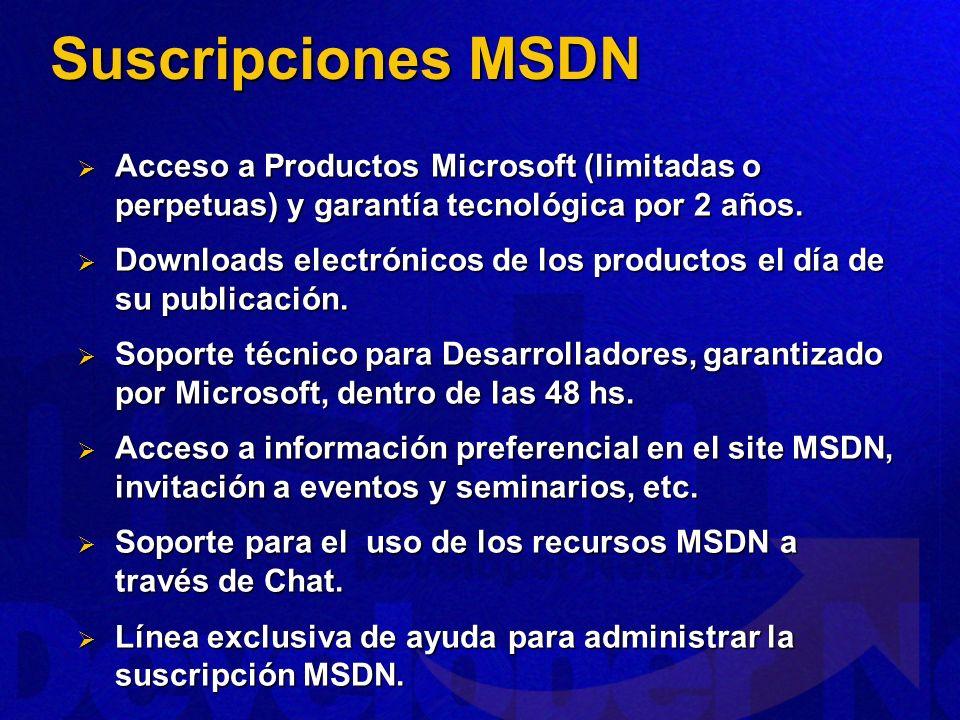 Suscripciones MSDN Acceso a Productos Microsoft (limitadas o perpetuas) y garantía tecnológica por 2 años. Acceso a Productos Microsoft (limitadas o p