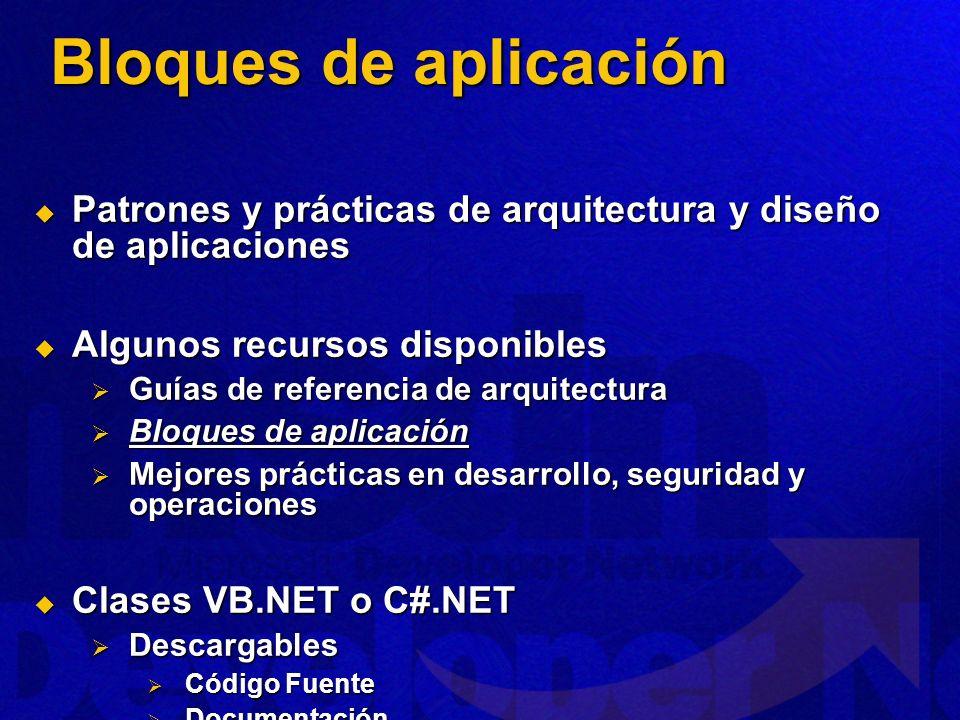 Patrones y prácticas de arquitectura y diseño de aplicaciones Patrones y prácticas de arquitectura y diseño de aplicaciones Algunos recursos disponibl