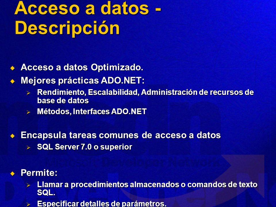 Assemblies Assemblies Microsoft.ApplicationBlocks.Data.dll Microsoft.ApplicationBlocks.Data.dll Clases Clases SqlHelper (Abstracta) SqlHelper (Abstracta) Métodos estáticos.