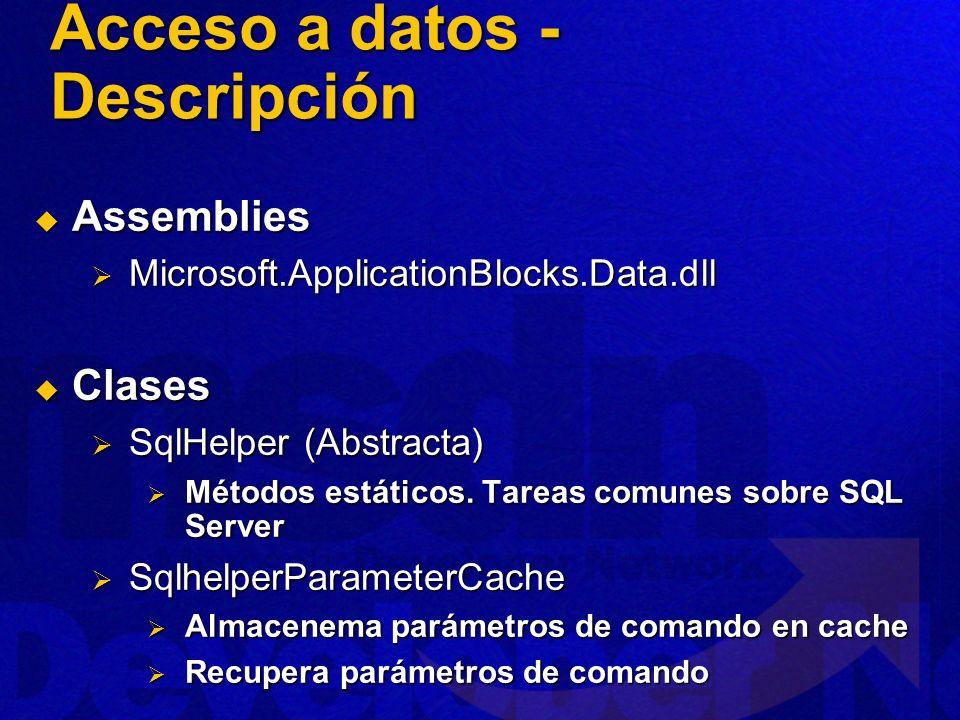 Acceso a Datos - Arquitectura Acceso datos Application Block Componente de acceso a datos SQL Server SqlHelper ExecuteNonQuery SqlHelperParameterCache ExecuteDataset ExecuteReader ExecuteScalar ExecuteXmlReader CacheParameterSet GetCachedParameterSet GetSpParameterSet int DataSet SqlDataReader object XmlReader SqlParameter[ ] Transact-SQL or Stored Procedure