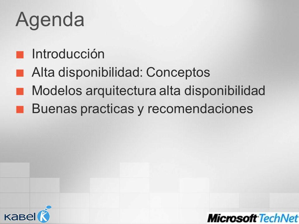 Agenda Introducción Alta disponibilidad: Conceptos Modelos arquitectura alta disponibilidad Buenas practicas y recomendaciones