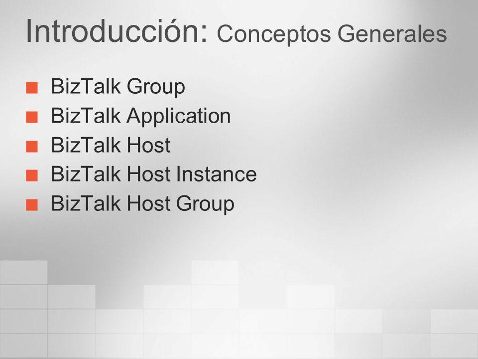 Introducción: Conceptos Generales BizTalk Group BizTalk Application BizTalk Host BizTalk Host Instance BizTalk Host Group