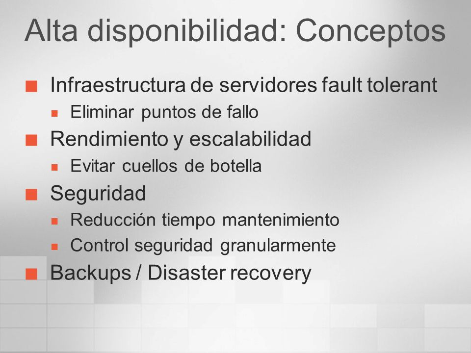 Arquitecturas distribuidas Objetivo: Alta disponibilidad Mejorar Rendimiento Configuración Activo-Activo MessageBox Puntos persistencia No existe afinidad servidores BTS Servicios Cluster (Componentes específicos ) Adaptadores (MSMQ, MQ Series) Enterprise Single Sing-on: Redundancia BizTalk Hosts : Cluster aware