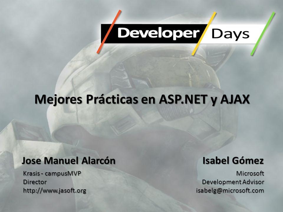 Mejores Prácticas en ASP.NET y AJAX Isabel Gómez Microsoft Development Advisor isabelg@microsoft.com Jose Manuel Alarcón Krasis - campusMVP Directorht