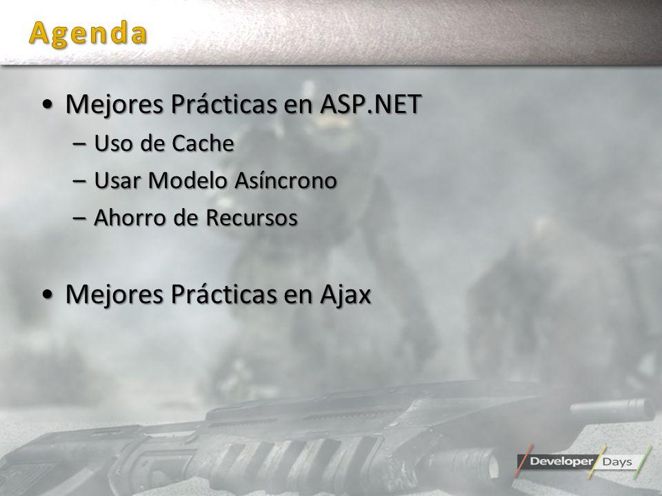 Mejores Prácticas en ASP.NETMejores Prácticas en ASP.NET –Uso de Cache –Usar Modelo Asíncrono –Ahorro de Recursos Mejores Prácticas en AjaxMejores Prá