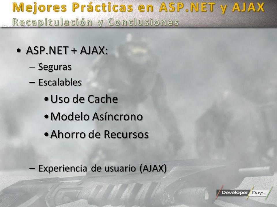 ASP.NET + AJAX:ASP.NET + AJAX: –Seguras –Escalables Uso de CacheUso de Cache Modelo AsíncronoModelo Asíncrono Ahorro de RecursosAhorro de Recursos –Ex