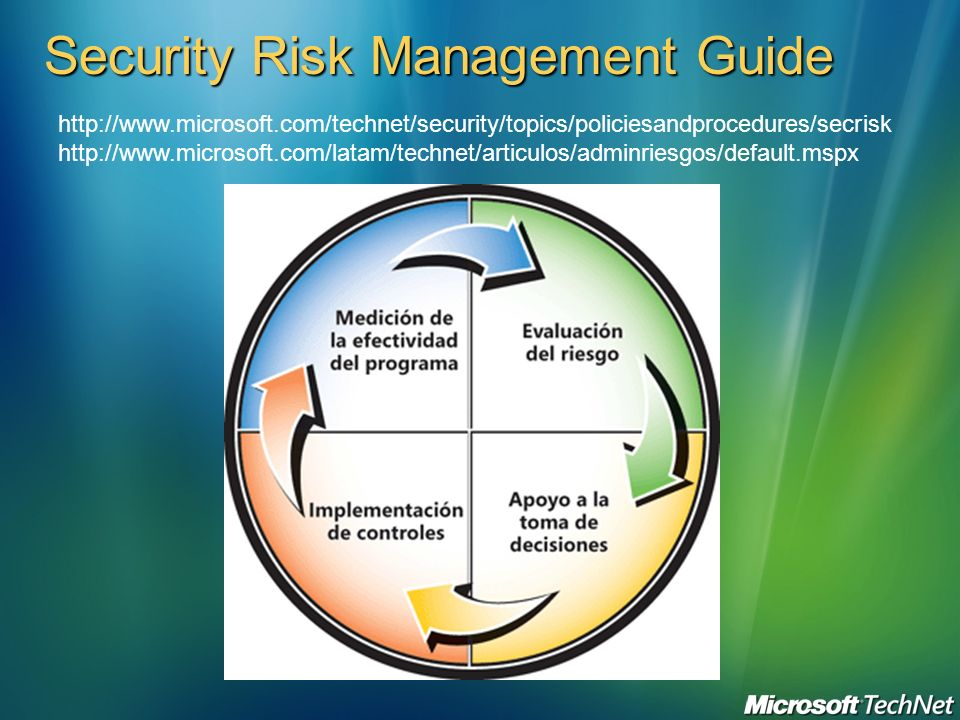 Security Risk Management Guide http://www.microsoft.com/technet/security/topics/policiesandprocedures/secrisk http://www.microsoft.com/latam/technet/a