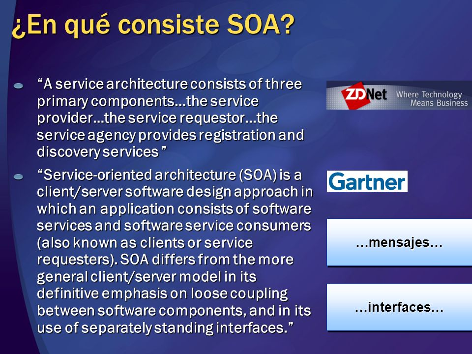 ¿En qué consiste SOA? a set of independently running services loosely bound to each other via event-driven messages. SOA is the aggregation of compone