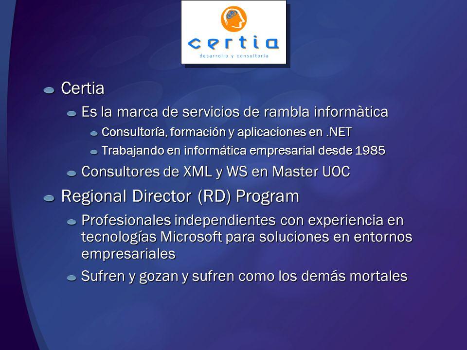 En camino a SOA Jordi Rambla Director Certia – rambla informàtica