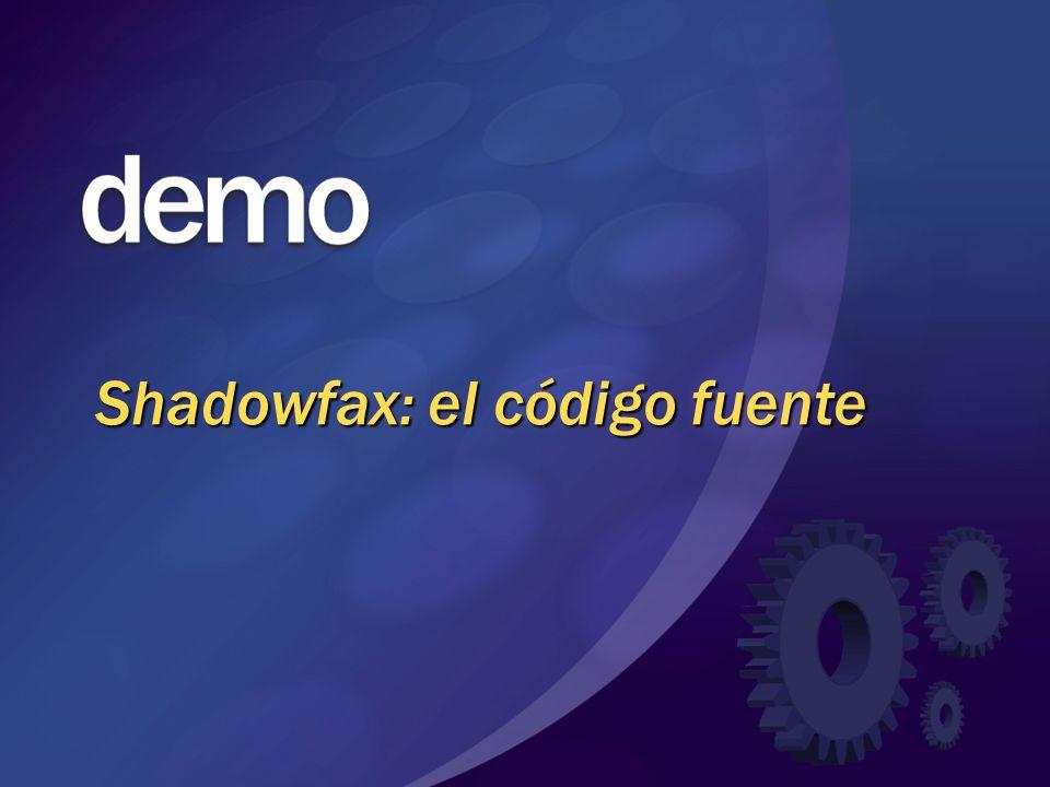 Arquitectura de Shadowfax Proxy Adap Especificación Pipeline Proxy Adap Proxy Adap Proxy Adap Serv.Web MSMQ Remoting … Especificación Pipeline Componente de Acción Pipeline de interfaz del servicio Pipeline de implementación del servicio Canales Interfaz Servicio Llamada Servicio Implementación servicio DCOM In-proc ASMX MSMQ Agente Servicio