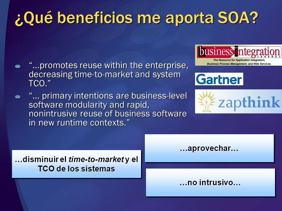 …disminuir el time-to-market y el TCO de los sistemas …aprovechar……aprovechar… ¿Qué beneficios me aporta SOA.