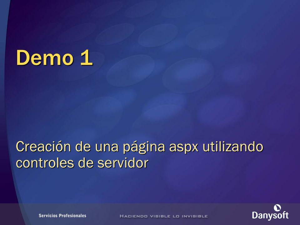 Demo 1 Creación de una página aspx utilizando controles de servidor