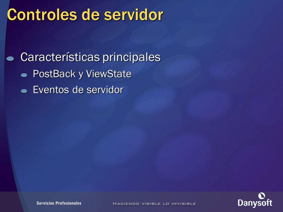 Controles de servidor Características principales PostBack y ViewState Eventos de servidor