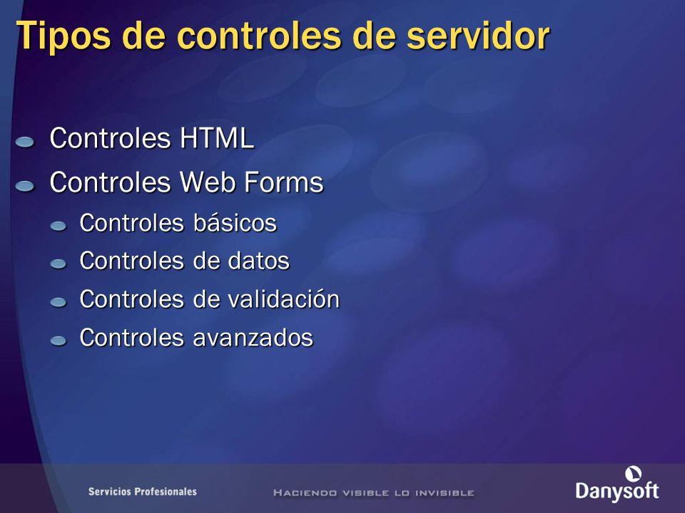 Controles HTML Controles Web Forms Controles básicos Controles de datos Controles de validación Controles avanzados