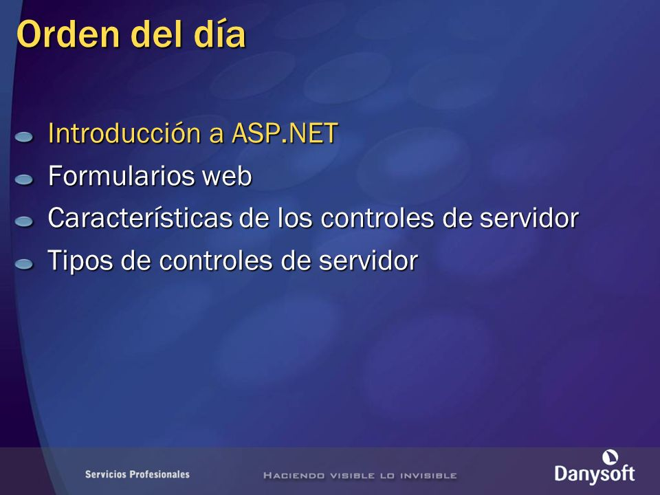 Controles Web Forms Validación Automatizan proceso de validación Aportan coherencia Se asocian a controles de entrada de datos Pueden ser varios al mismo control Diferentes usos Valores obligatorios (RequiredValidator) Rangos de valores permitidos (RangeValidator) Comparación de valores (CompareValidator) Expresiones regulares (RegularExpression) Validaciones personalizadas (CustomValidator)