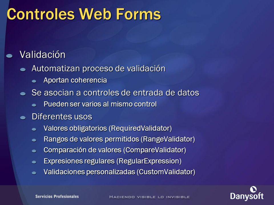 Controles Web Forms Validación Automatizan proceso de validación Aportan coherencia Se asocian a controles de entrada de datos Pueden ser varios al mi