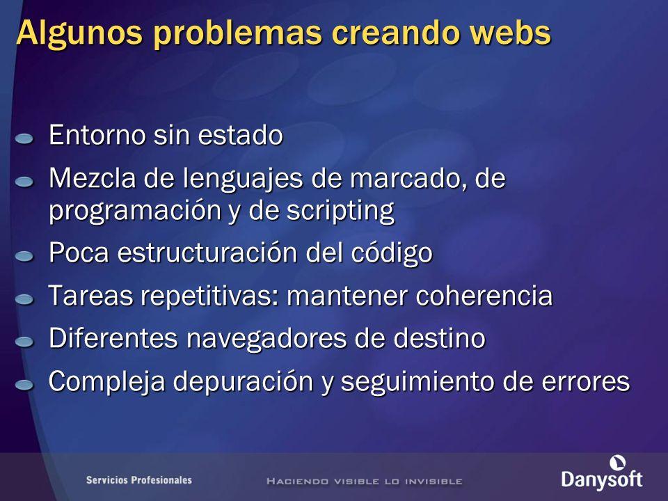 Algunos problemas creando webs Entorno sin estado Mezcla de lenguajes de marcado, de programación y de scripting Poca estructuración del código Tareas