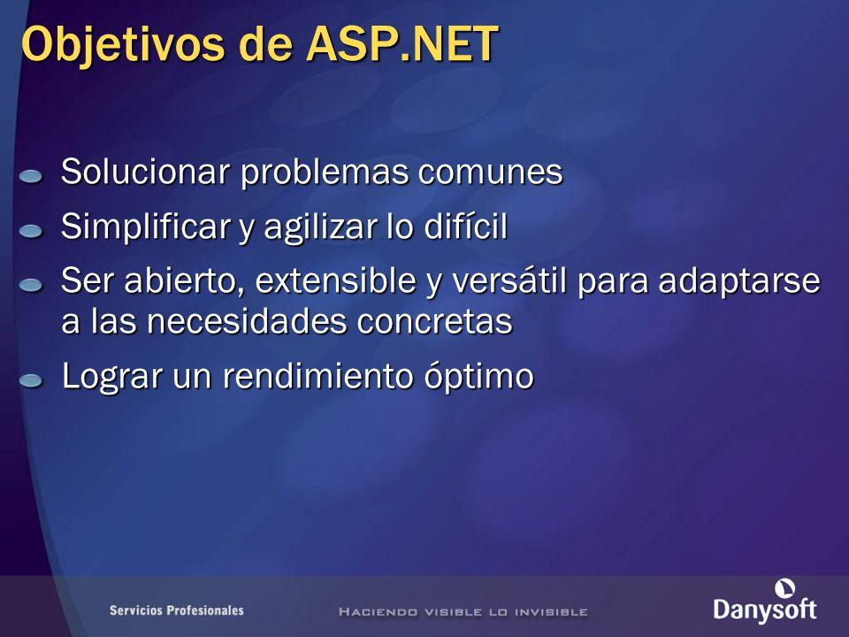 Objetivos de ASP.NET Solucionar problemas comunes Simplificar y agilizar lo difícil Ser abierto, extensible y versátil para adaptarse a las necesidade