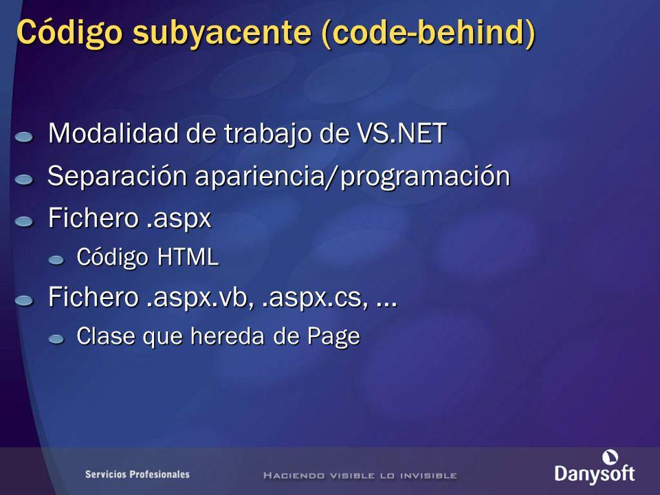 Código subyacente (code-behind) Modalidad de trabajo de VS.NET Separación apariencia/programación Fichero.aspx Código HTML Fichero.aspx.vb,.aspx.cs,..
