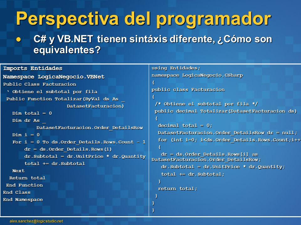alex.sanchez@logicstudio.net Perspectiva del programador C# y VB.NET tienen sintáxis diferente, ¿Cómo son equivalentes? C# y VB.NET tienen sintáxis di