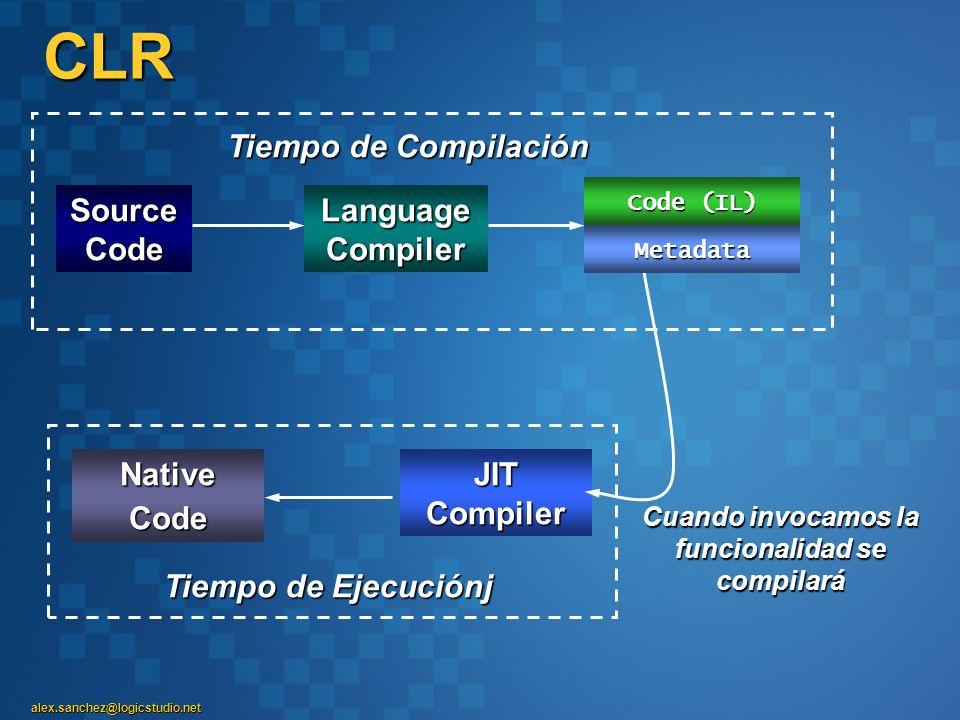 alex.sanchez@logicstudio.net CLRAssembly Source Code Language Compiler Tiempo de Compilación Cuando invocamos la funcionalidad se compilará Tiempo de