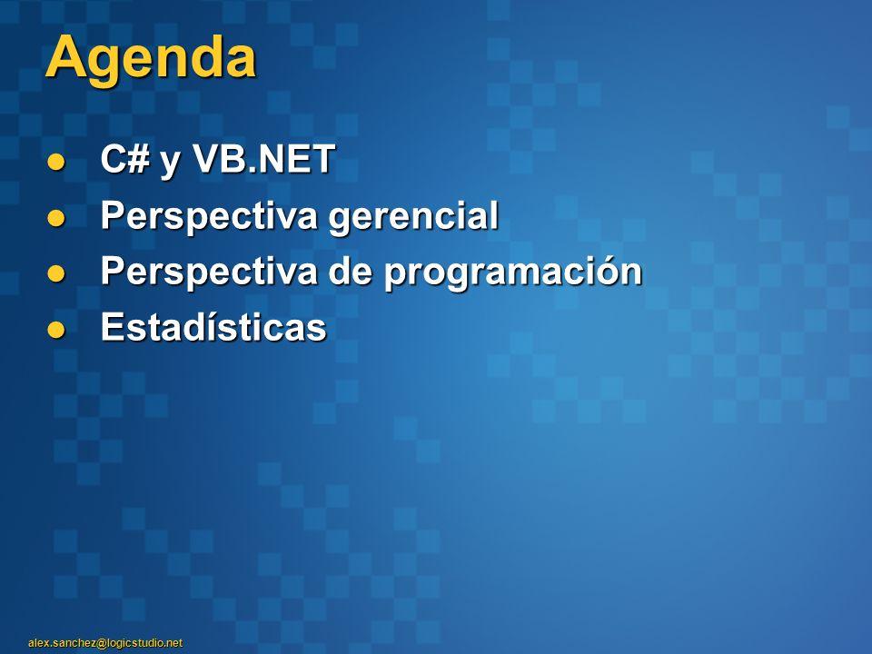 alex.sanchez@logicstudio.net Agenda C# y VB.NET C# y VB.NET Perspectiva gerencial Perspectiva gerencial Perspectiva de programación Perspectiva de pro