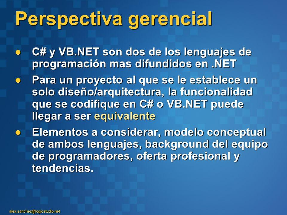 alex.sanchez@logicstudio.net Perspectiva gerencial C# y VB.NET son dos de los lenguajes de programación mas difundidos en.NET C# y VB.NET son dos de l