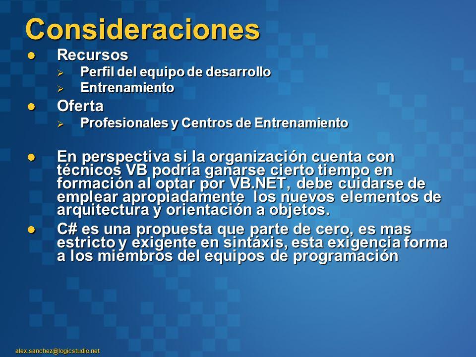 alex.sanchez@logicstudio.net Consideraciones Recursos Recursos Perfil del equipo de desarrollo Perfil del equipo de desarrollo Entrenamiento Entrenami