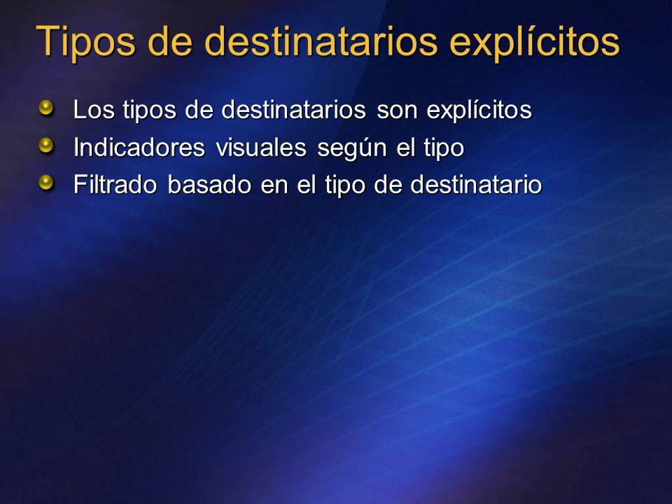 Tipos de destinatarios explícitos Los tipos de destinatarios son explícitos Indicadores visuales según el tipo Filtrado basado en el tipo de destinata