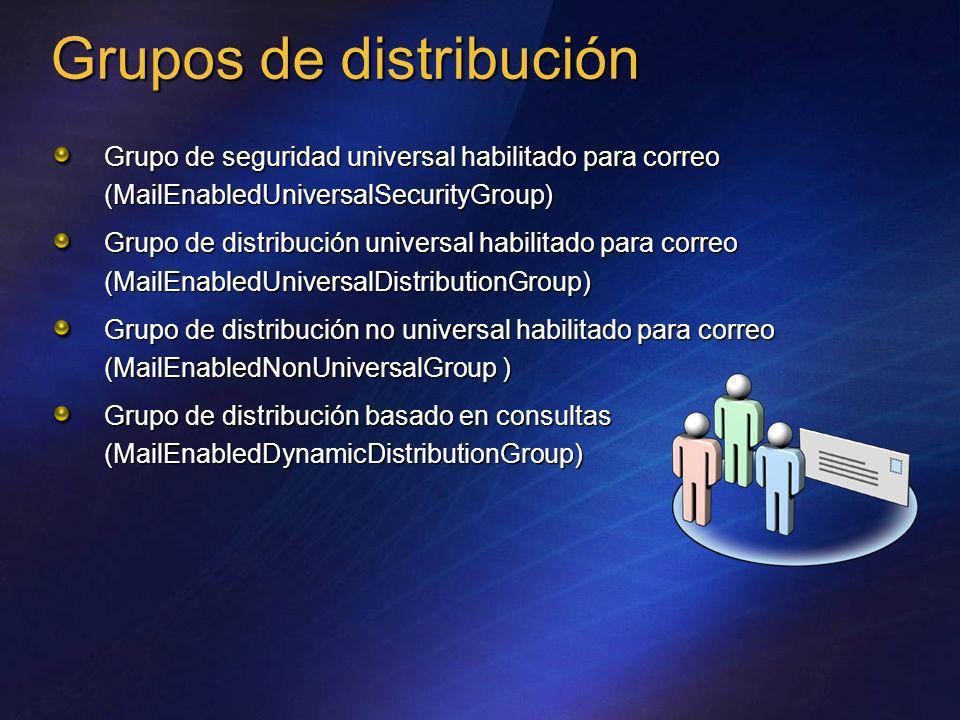 Grupos de distribución Grupo de seguridad universal habilitado para correo (MailEnabledUniversalSecurityGroup) Grupo de distribución universal habilit