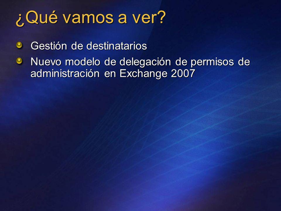 ¿Qué vamos a ver? Gestión de destinatarios Nuevo modelo de delegación de permisos de administración en Exchange 2007