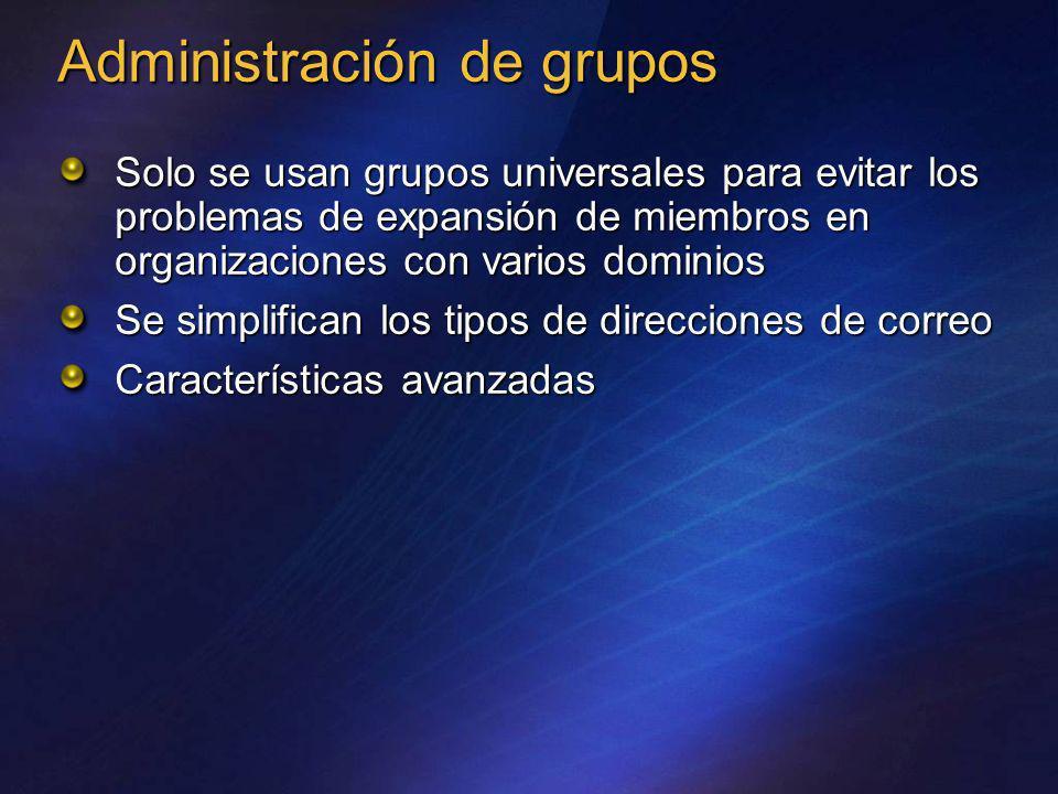 Solo se usan grupos universales para evitar los problemas de expansión de miembros en organizaciones con varios dominios Se simplifican los tipos de d