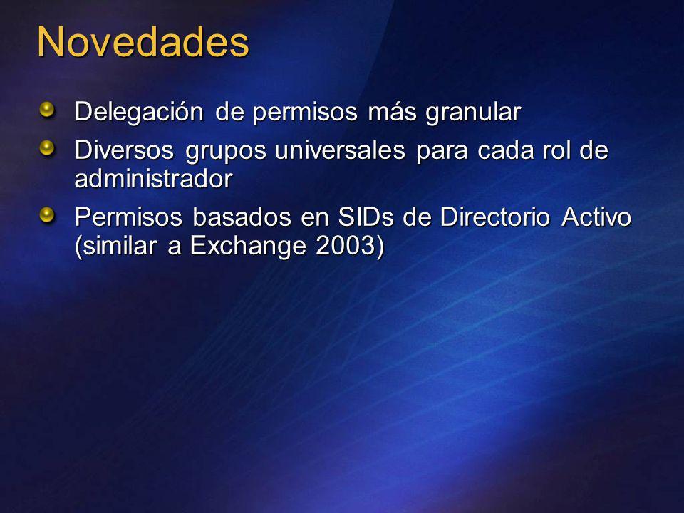 Delegación de permisos más granular Diversos grupos universales para cada rol de administrador Permisos basados en SIDs de Directorio Activo (similar