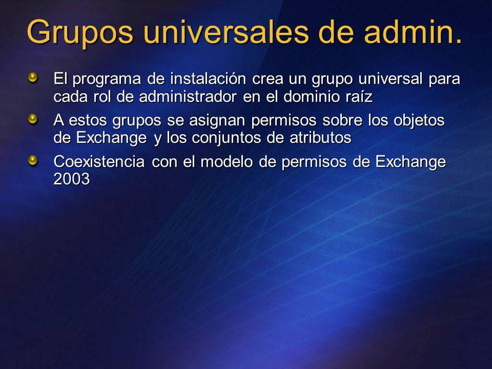 El programa de instalación crea un grupo universal para cada rol de administrador en el dominio raíz A estos grupos se asignan permisos sobre los obje