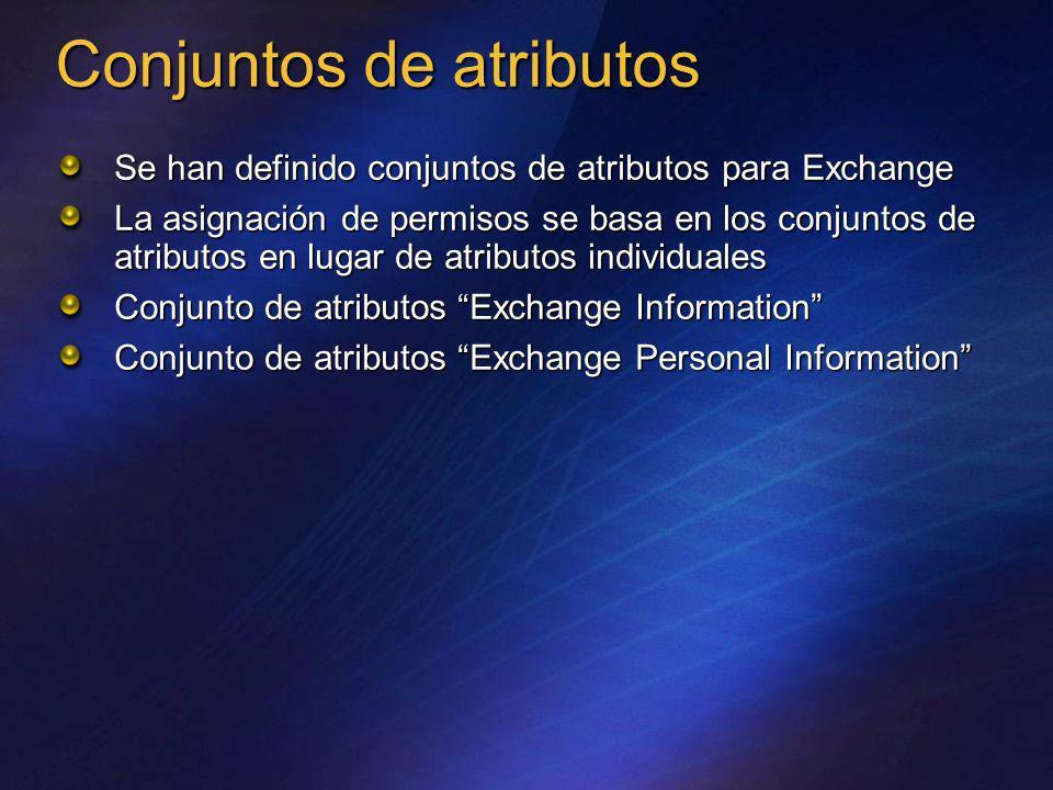 Se han definido conjuntos de atributos para Exchange La asignación de permisos se basa en los conjuntos de atributos en lugar de atributos individuale