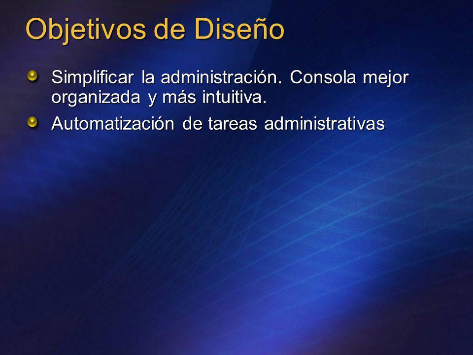 Simplificar la administración. Consola mejor organizada y más intuitiva. Automatización de tareas administrativas Objetivos de Diseño