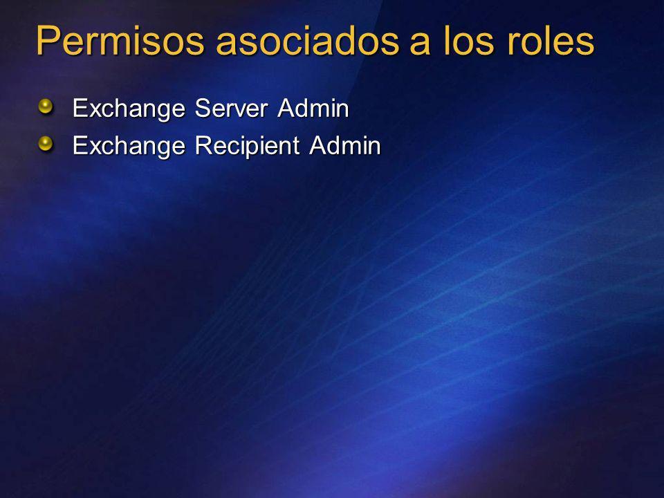 Exchange Server Admin Exchange Recipient Admin Permisos asociados a los roles